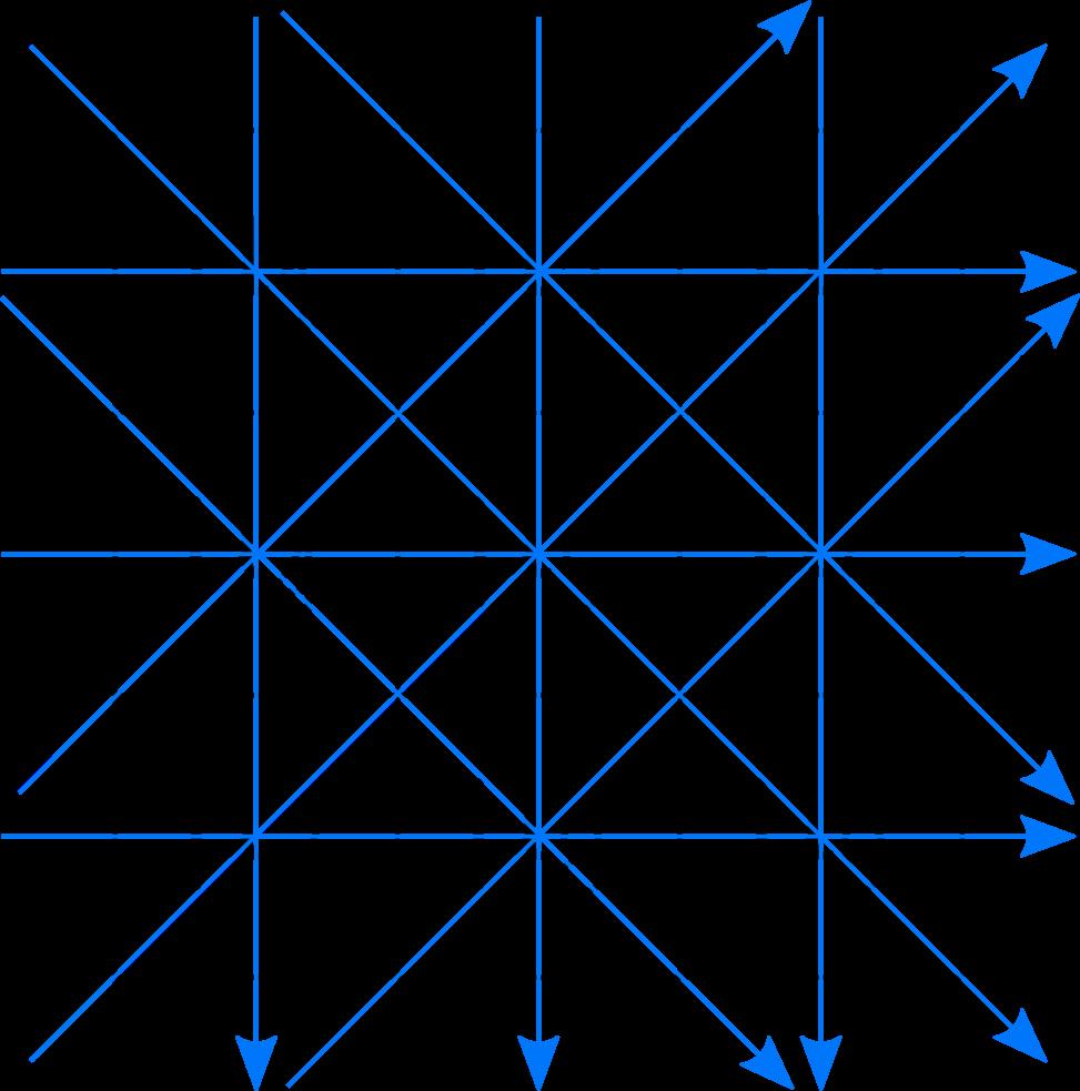 Darstellung der würfelförmigen 3x3-Verteilung mit neun verschiedenen Absorptionskoeffizienten sowie den 12 unterschiedlichen Projektionsrichtungen bzw. Ausgangsintensitäten.