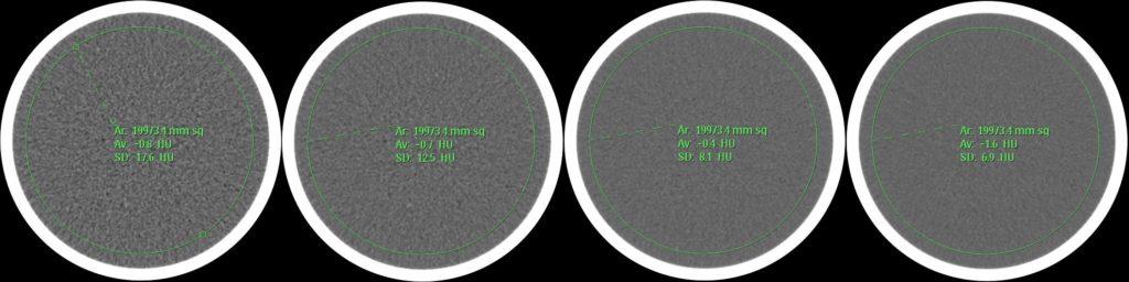 Darstellung der Standardabweichung des mittleren Hounsfield-Werts in einem QA-Phantom für unterschiedlich rekonstruierte Schichtdicken. Von links nach rechts: 1mm, 2mm, 5mm, 10mm.