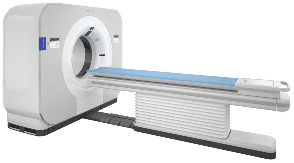 Seitlicher Blick auf Blick auf das Spectral-CT 7500 von Philips.